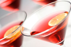 Close up of drinks in martini glasses Stock Images