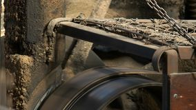 Close up of drive belts and wheels at a huon pine sawmill at strahan on the west coast of tasmania stock footage