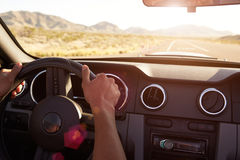 Close Up Of Driver's Hands On Car Steering Wheel Royalty Free Stock Photos