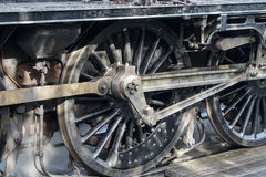 Close up of Driving Wheels of a Vintage Steam Engine Royalty Free Stock Images
