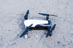 Close up of drone on concrete path before take off. Day shot vc royalty free stock image