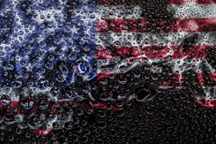 National flag of USA with drops stock image