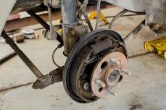 Close up of drum brake mechanism of car wheel Stock Photo