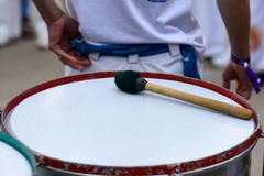 Close-up drum and drum sticks, outdoors. Traditional musical ins. Trument of Brazil royalty free stock photos