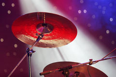 Close up of drum plates on stage Stock Photography