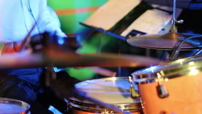 Close up Drummer Playing in disco lights stock video footage