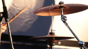 Close Up Of Drummer Playing Drum Plays Music On Concert. Shallow depth of the field, 59.94 fps stock video footage