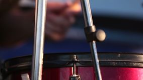 Close Up Of Drummer Playing Drum Plays Music On Concert. Shallow depth of the field, 59.94 fps stock video