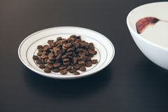 Plate with dry cat food on dark wooden floor and clean water. Close-up of dry cat food in white ceramic palte, high angle view, selective focus stock image