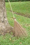 Dry coconut stick broom on grass ground Royalty Free Stock Images