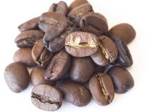 Close-up dry coffee beans. unmilled turkish coffee beans royalty free stock photography