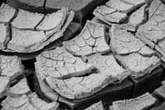 Close-up of a dry cracked land after drought. Black and white image Royalty Free Stock Image