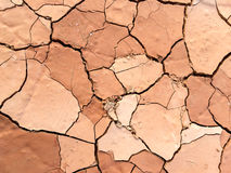 Close up of dry cracked mud on a hot day Stock Photography
