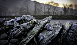 Dry Stone Wall. A close up of a dry stone wall in Cumbria Great Britain with moss Royalty Free Stock Photos