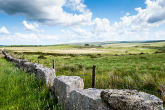 Close-up on dry stone wall on a farmland. Stock Photo