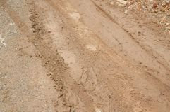 Dry wheel track on dirt soil texture. Close up Dry wheel track on dirt soil texture royalty free stock photo