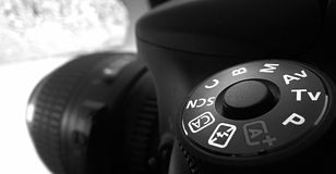 Close up of DSLR camera Royalty Free Stock Images