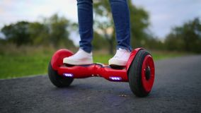 Close Up of Dual Wheel Self Balancing Electric Skateboard Smart stock video footage