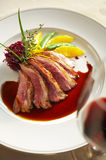 Close up duck grilled steak and sauce Royalty Free Stock Images