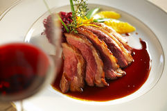 Close up duck grilled steak and sauce Royalty Free Stock Photo