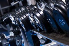 Close up of dumbells Royalty Free Stock Photos