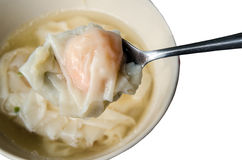 Close up of a dumpling in the spoon Stock Image