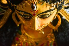 Close up of Durga Maa with a third eye or royalty free stock photography