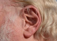 Close up of human ear stock photo