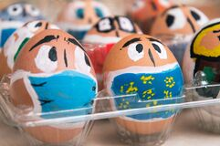 Close up. Easter during coronavirus. Eggs painted as faces with medical masks