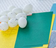 Close-up easter egg decorating and painting tools. Stock Photos