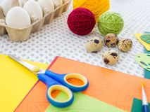 Close-up easter egg decorating and painting tools. Stock Photo