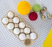 Close-up easter egg decorating and painting tools. Stock Photography