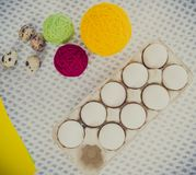 Close-up easter egg decorating and painting tools. Royalty Free Stock Photography