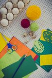 Close-up easter egg painting, decorating tools. Stock Images