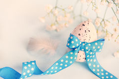 Close up of an easter egg. Spring flowers and feather over blue background. Vintage effect. Stock Photo