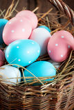 Close up Easter Eggs in the Basket Royalty Free Stock Image