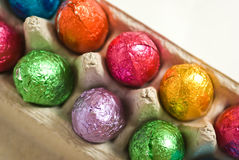 Close up of Easter eggs in carton Stock Images