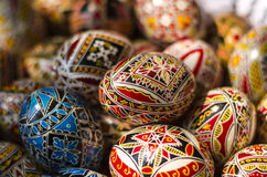 Close-up of Easter eggs. Detail of traditional Christian motifs on Romanian Easter eggs Royalty Free Stock Photography