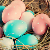 Close up of Easter Eggs Painted Pink, Blue colors Royalty Free Stock Images