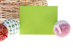 Close-up of Easter wish card and eggs royalty free stock photo