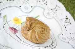 Close up eclair on white paper Royalty Free Stock Image