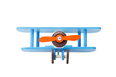 Close-up of an eco-friendly product for children`s games, isolated on a white background. A developing toy airplane. Royalty Free Stock Photos