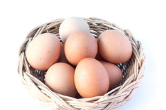 Close up of an egg in basket isolated on white background. Egg in basket, egg, basket, food healthy, Close up of an egg, isolated on white background, diet food Royalty Free Stock Images