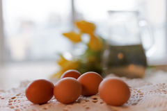 Close-up of an egg for breakfast. Easter set. Tinted photo.  Stock Photos