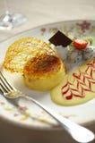 Close up egg custard with cream sauce Royalty Free Stock Photos