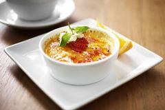 Close up egg custard and strawberry Royalty Free Stock Photos