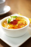 Close up egg custard and strawberry Royalty Free Stock Photo