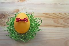 Close up of egg decorated with red bow Royalty Free Stock Images