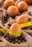 Close up egg and tape measure of still life on brown cloth Royalty Free Stock Image