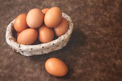 Close up of eggs basket Royalty Free Stock Photography